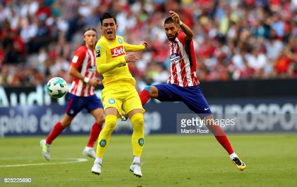 Carrasco of Atletico Madrid and Jose Maria Callejon Bueno of Napoli battle for the ball during the Audi Cup 2017 match between Club Atletico de...