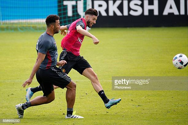 Carrasco Yannick forward of Belgium and Dembele Moussa midfielder of Belgium during an open training session of the National Soccer Team of Belgium...