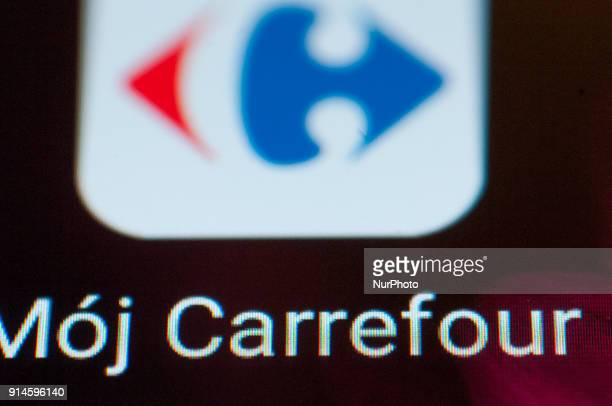 A Carrefour supermarket app is seen on an Android portable device on February 5 2018