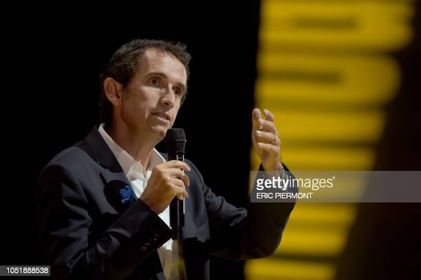 Carrefour's CEO Alexandre Bompard addresses the Bpifrance 'Inno Generation' event on October 11 2018 in Paris