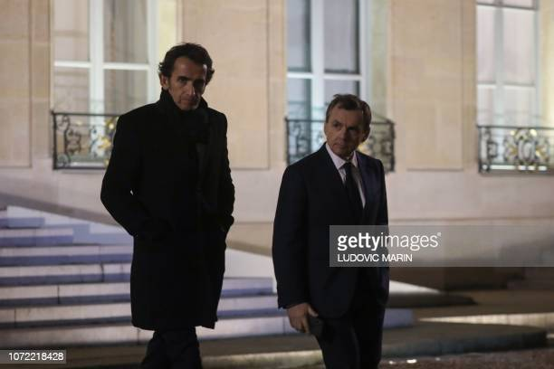 Carrefour's CEO Alexandre Bompard and NextRadioTV and SFR CEO Alain Weill leave the Elysee Palace in Paris after a meeting with the French President...