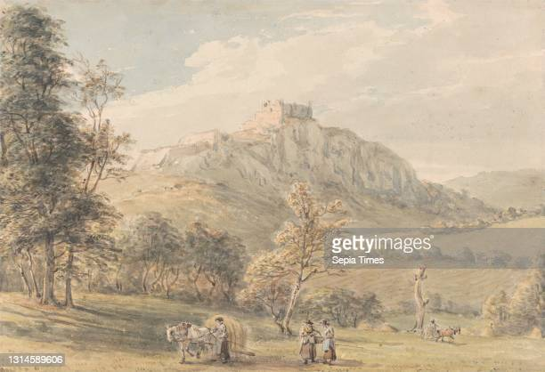 Carreg Cennen Castle, Paul Sandby RA, 1731–1809, British, ca. 1800, Watercolor and graphite on thick, moderately textured, cream laid paper, Sheet: 8...