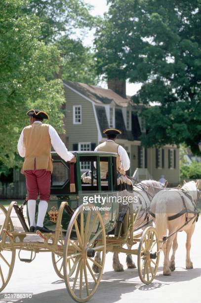 carriage and horses in colonial williamsburg - williamsburg virginia stock pictures, royalty-free photos & images