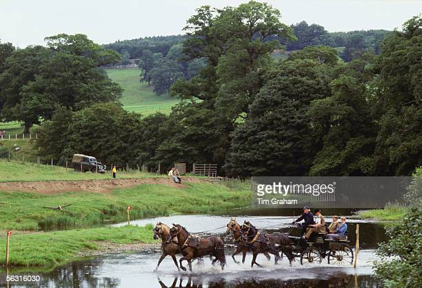 Carriage Driving Championships held in the grounds of Lowther Castle Cumbria United Kingdom