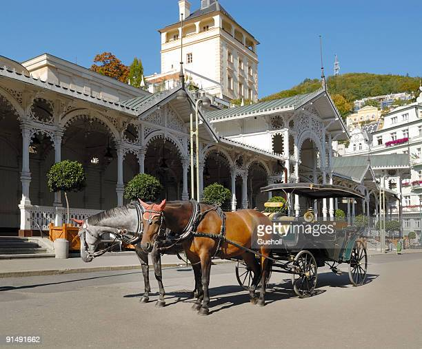 carriage in front of a pump room karlovy vary karlsbad - karlovy vary stock pictures, royalty-free photos & images