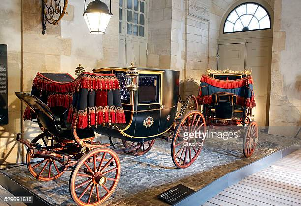 A carriage of the Presidency of the Republic is displayed in the Great Stable King next to the 'Chateau de Versailles' May 9 2016 Versailles France...