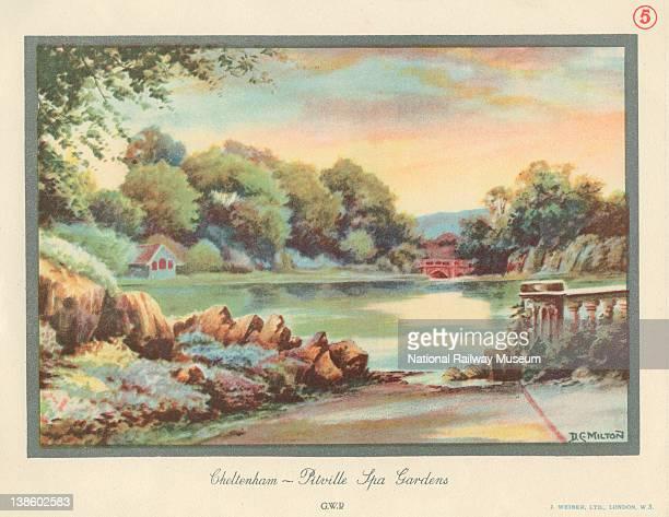 Carriage print Great Western Railway Pitville Spa Gardens Cheltenham by Milton 1907