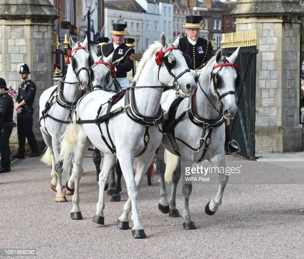 Carriage procession take Princess Eugenie and her new husband Jack Brooksbank around Windsor following their wedding at St George's Chapel in Windsor...