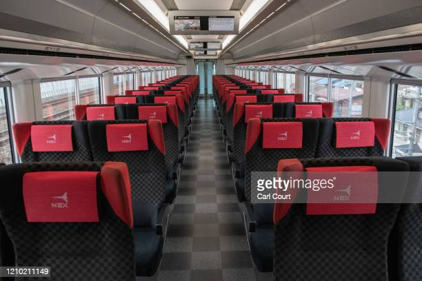Carriage remains completely empty on the Narita Express airport train from central Tokyo to Narita Airport on April 17, 2020 in Tokyo, Japan. Narita...