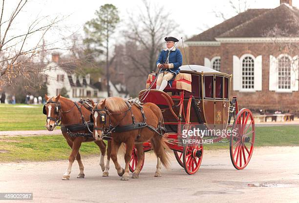 carriage ride in williamsburg virginia - colonial style stock pictures, royalty-free photos & images