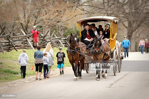 carriage ride - colonial williamsburg stock photos and pictures