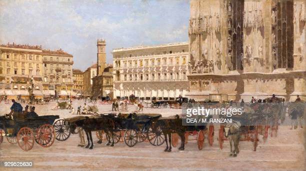Carriages in Piazza Duomo, by Giuseppe Mentessi , oil on canvas, Bar Soci , ground floor, Palazzo Spinola, Milan, Lombardy, Italy.