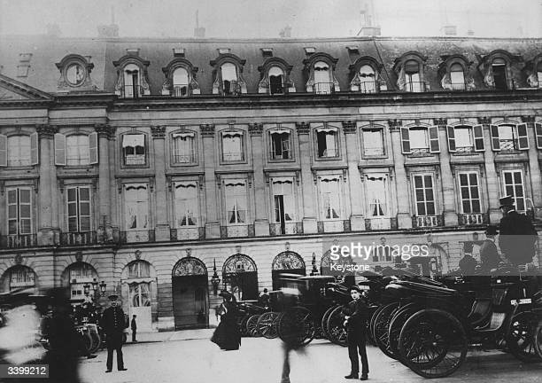 Carriages parked outside the Ritz Hotel in Paris
