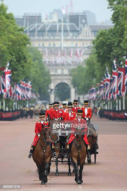 Carriages travel down the Mall during Trooping the Colour Queen Elizabeth II's Birthday Parade at The Royal Horseguards on June 14 2014 in London...