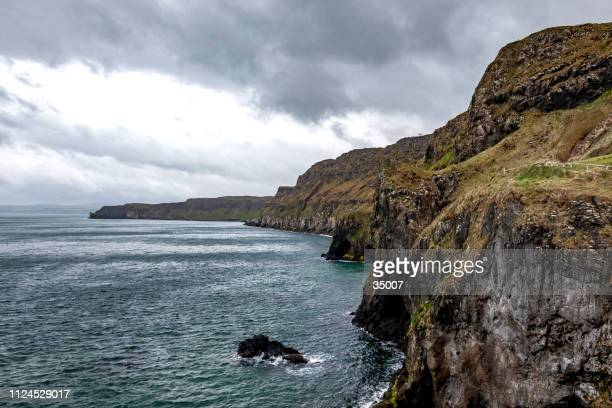 carrick a rede atlantic coastline , northern ireland - irish sea stock pictures, royalty-free photos & images