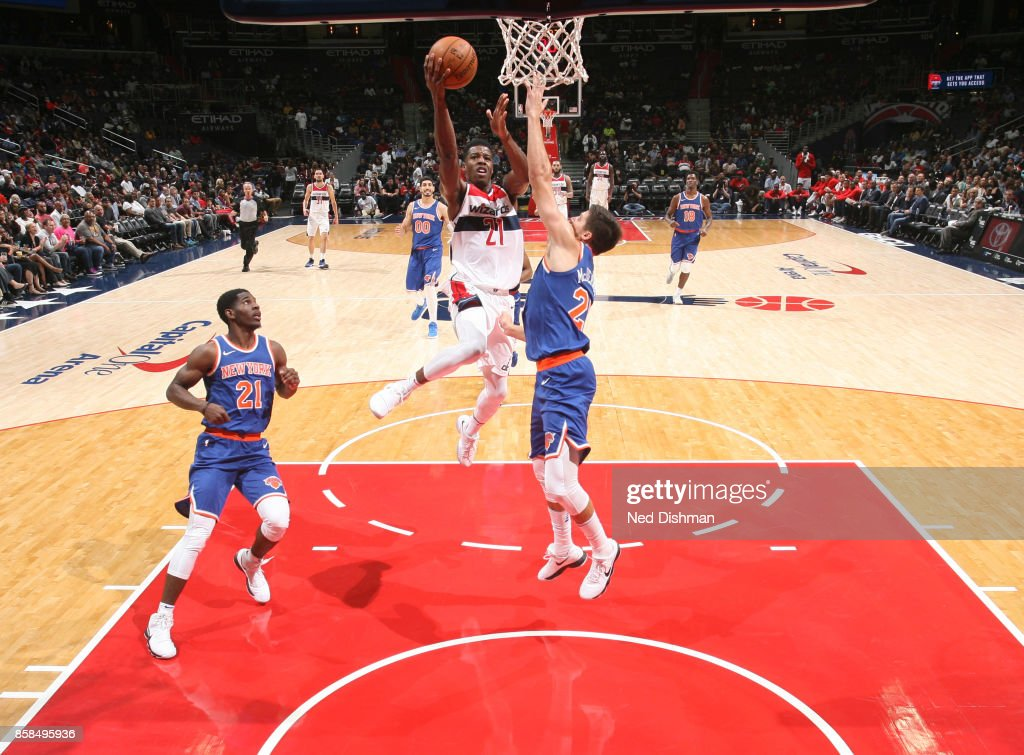 Carrick Felix #21 of the Washington Wizards shoots the ball against the New York Knicks during the preseason game on October 6, 2017 at Capital One Arena in Washington, DC.