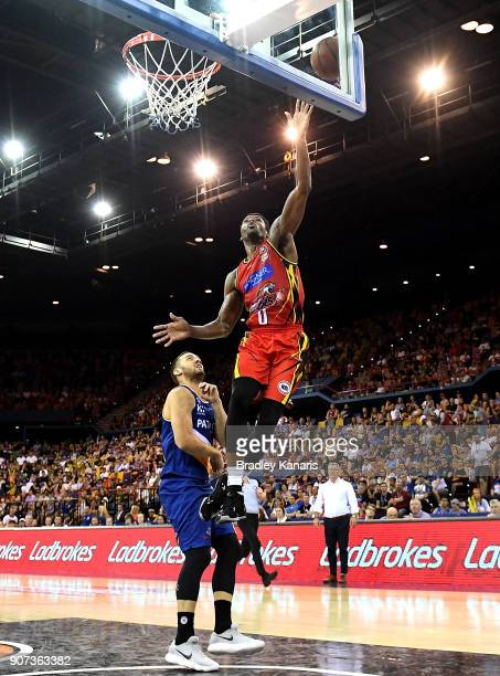 Carrick Felix of United drives to the basket during the round 15 NBL match between the Brisbane Bullets and Melbourne United at Brisbane...