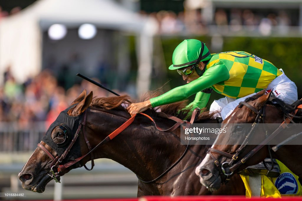 Carrick with John Velazquez up, wins the Grade I Secretariat Stakes at Arlington Park Race Track on August 11, 2018 in Arlington Heights, Illinois