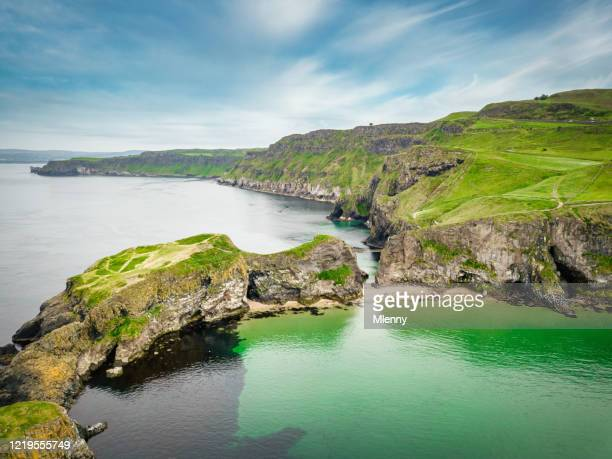 carrick-a-rede rope bridge aerial view northern ireland - county antrim stock pictures, royalty-free photos & images