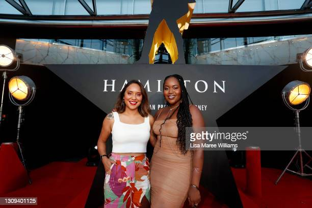 Carrie and Ruva attend the Australian premiere of Hamilton at Lyric Theatre, Star City on March 27, 2021 in Sydney, Australia.