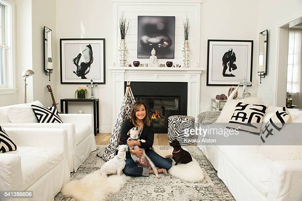 Carrie Ann Inaba at home in Los Angeles with her rescue dogs Lola Buddy and Peanut
