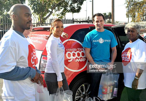 Carrie Ann Inaba Matthew Rhys and Volunteers attend AARP's Create the Good and EIF's iParticipate to Volunteer at the Los Angeles Regional Food Bank