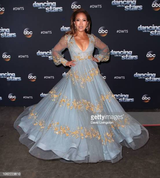 Carrie Ann Inaba poses at Dancing with the Stars Season 27 at CBS Televison City on October 15 2018 in Los Angeles California