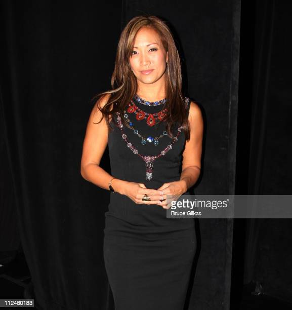 Carrie Ann Inaba poses backstage at the hit dance spectacular Burn The Floor on Broadway at The Longacre Theater on September 25 2009 in New York City
