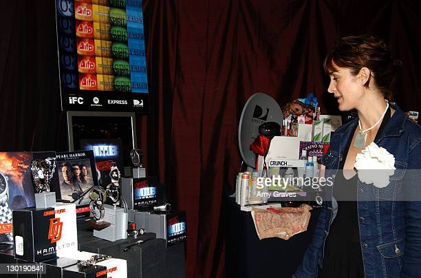 Carrie Ann Moss looking at Hamilton Watches during The 18th Annual IFP Independent Spirit Awards - Official Talent Gift Bag Produced by On 3...