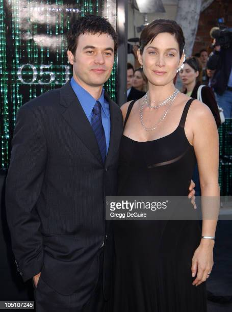 "Carrie Anne Moss & Steven Roy during ""The Matrix Reloaded"" Premiere at Mann Village Theatre in Westwood, California, United States."