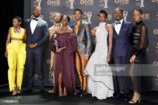 Carrie Bernans, Winston Duke, Michael B. Jordan, Lupita Nyong'o, Chadwick Boseman, Danai Gurira, Sterling K. Brown, and Letitia Wright, winners of...