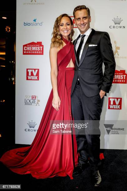 Carrie Bickmore and Chris Walker arrives at the 59th Annual Logie Awards at Crown Palladium on April 23 2017 in Melbourne Australia