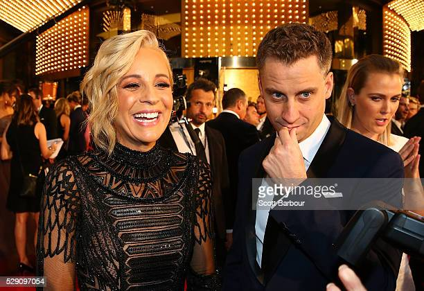 Carrie Bickmore and her partner Chris Walker arrive at the 58th Annual Logie Awards at Crown Palladium on May 8 2016 in Melbourne Australia