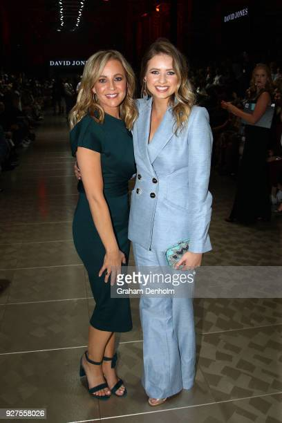 Carrie Bickmore and Kassandra Clementi pose during the VAMFF Runway Gala Presented by David Jones on March 5 2018 in Melbourne Australia