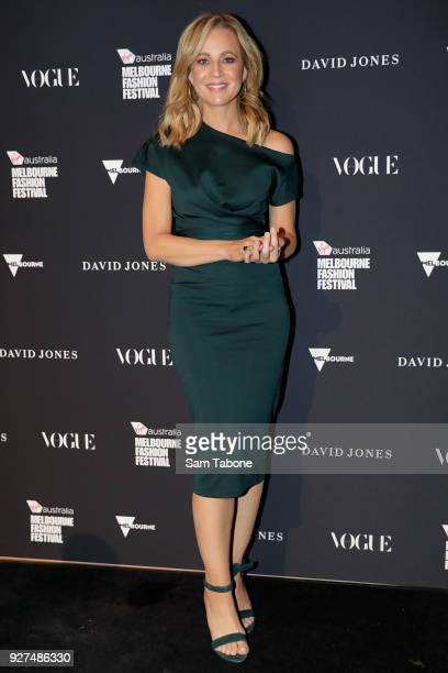 Carrie Bickmore arrives ahead of the VAMFF 2018 Gala Runway presented by David Jones on March 5 2018 in Melbourne Australia