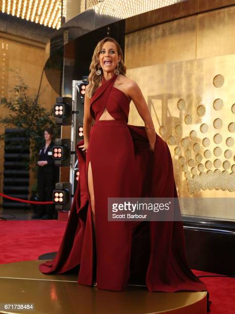 Carrie Bickmore arrives at the 59th Annual Logie Awards at Crown Palladium on April 23 2017 in Melbourne Australia