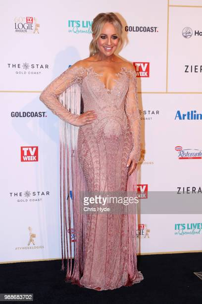 Carrie Bickmore arrives at the 60th Annual Logie Awards at The Star Gold Coast on July 1 2018 in Gold Coast Australia