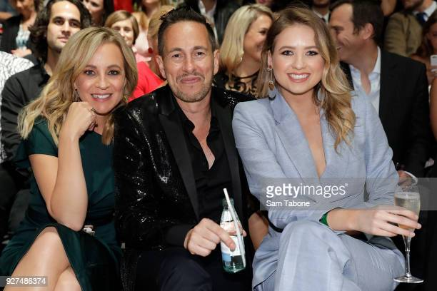 Carrie Bickmore Graeme Lewsy and Kassandra Clementi arrives ahead of the VAMFF 2018 Gala Runway presented by David Jones on March 5 2018 in Melbourne...