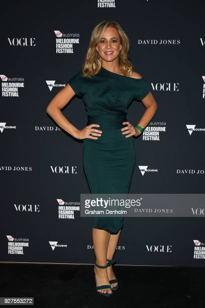 Carrie Bickmore poses during the VAMFF Runway Gala Presented by David Jones on March 5 2018 in Melbourne Australia