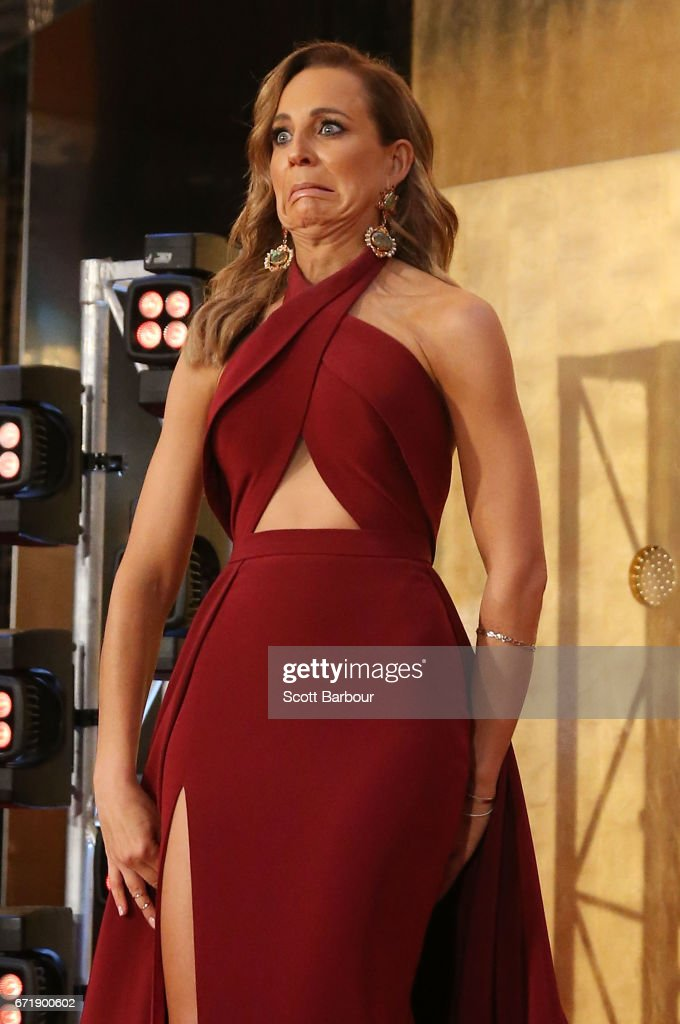 Carrie Bickmore stumbles as she arrives at the 59th Annual Logie Awards at Crown Palladium on April 23, 2017 in Melbourne, Australia.