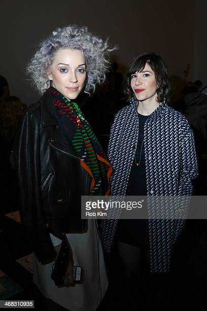 Carrie Brownstein and Annie Clark attend the Opening Ceremony show during MercedesBenz Fashion Week Fall 2014 at on February 9 2014 in the Brooklyn...