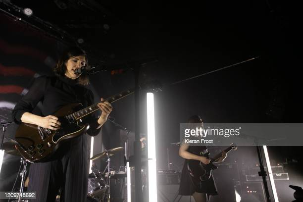 Carrie Brownstein and Corin Tucker of Sleater Kinney perform at Vicar Street on March 01, 2020 in Dublin, Ireland.