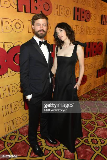 Carrie Brownstein and guest attend HBO's Post Emmy Awards Reception at The Plaza at the Pacific Design Center on September 17 2017 in Los Angeles...