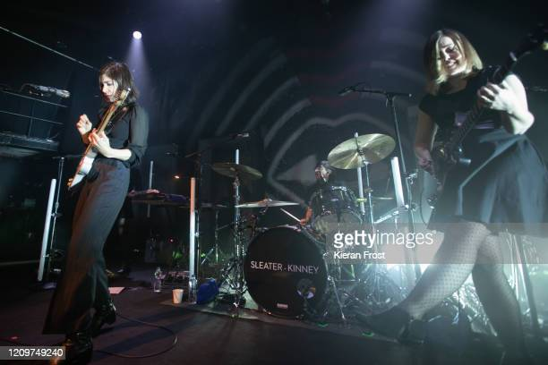 Carrie Brownstein, Angie Boylan and Corin Tucker of Sleater Kinney perform at Vicar Street on March 01, 2020 in Dublin, Ireland.