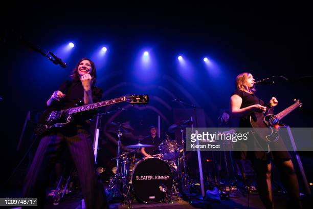 Carrie Brownstein Angie Boylan Toko Yasuda and Corin Tucker of Sleater Kinney perform at Vicar Street on March 01 2020 in Dublin Ireland