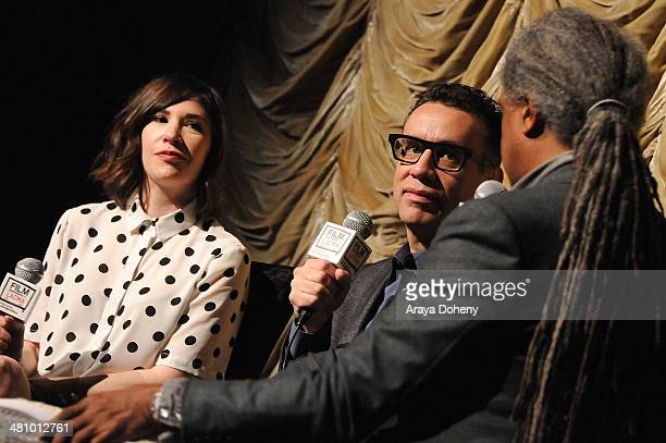Carrie Brownstein Fred Armisen and Elvis Mitchell attend the Film Independent at LACMA Screening QA of Portlandia at Bing Theatre At LACMA on March...