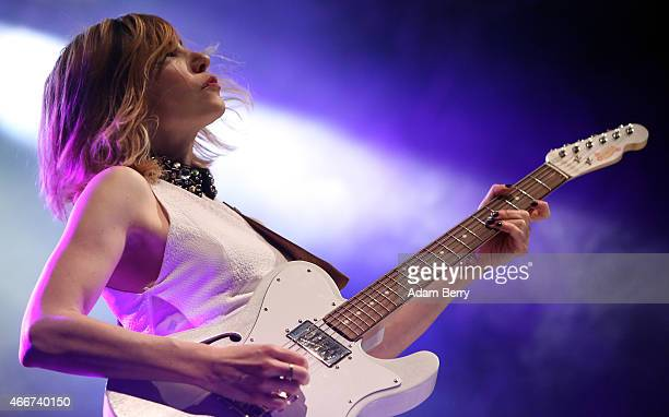 Carrie Brownstein of SleaterKinney performs during a concert at Huxleys Neue Welt on March 18 2015 in Berlin Germany