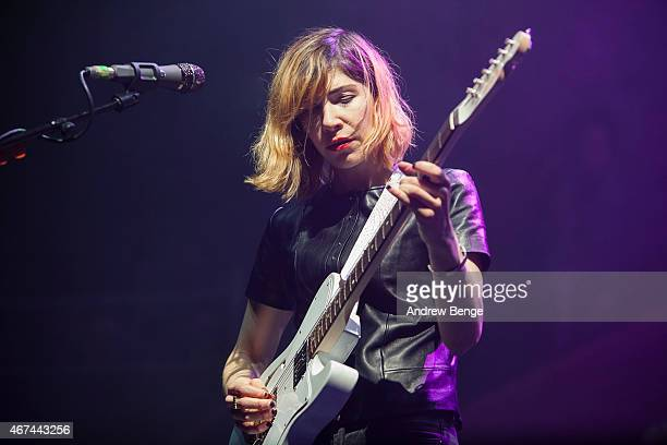 Carrie Brownstein of SleaterKinney performs on stage at Albert Hall on March 24 2015 in Manchester United Kingdom