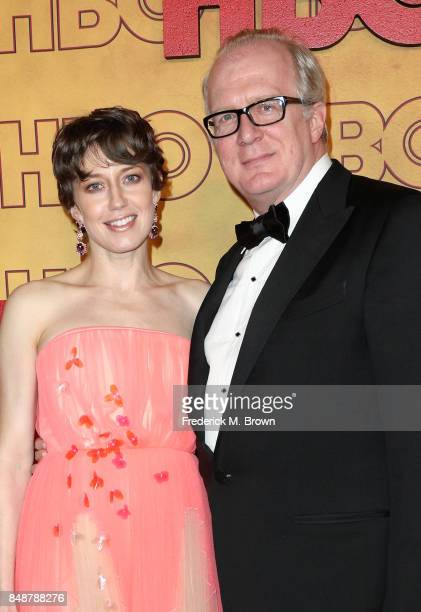 Carrie Coon and Tracy Letts attend HBO's Post Emmy Awards Reception at The Plaza at the Pacific Design Center on September 17 2017 in Los Angeles...