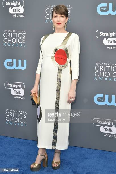 Carrie Coon attends The 23rd Annual Critics' Choice Awards Arrivals at The Barker Hanger on January 11 2018 in Santa Monica California